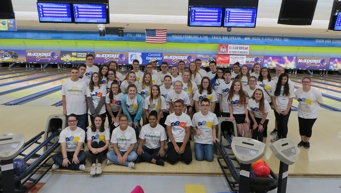 IL-941 cadets volunteering at the Southern Illinois Special Olympics Bowling tournament
