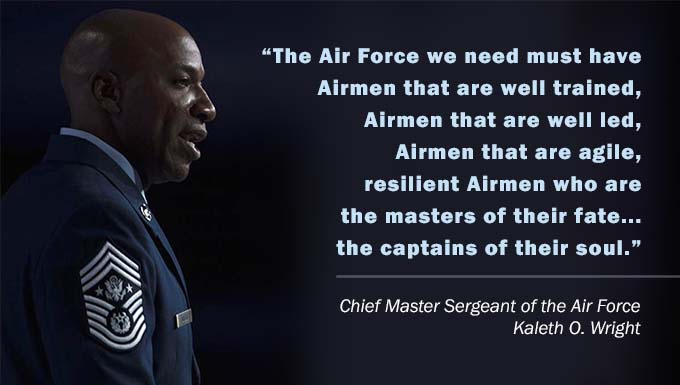 Quote and Photo of Chief Master Sergeant of the Air Force Kaleth O. Wright