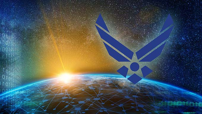 Artist concept showing the Air Force logo, space, and earth with a connected network wrapping the surface.