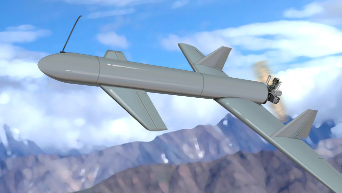 Artist rendering of an Iranian Houthi Qasef-1 drone flying over a distant landscape