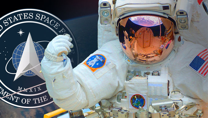 Artists image depicting an astronaut and the Space Force seal floating in space.