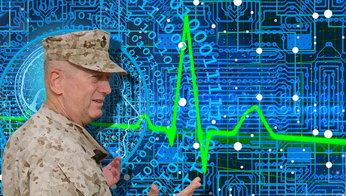 Artist image of military man over coded background and sound monitor.