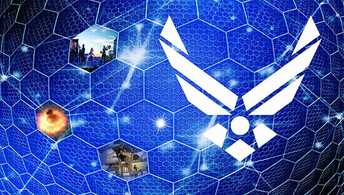 Artists image depicting Air Force logo on blue honeycombed background with real world scenes.
