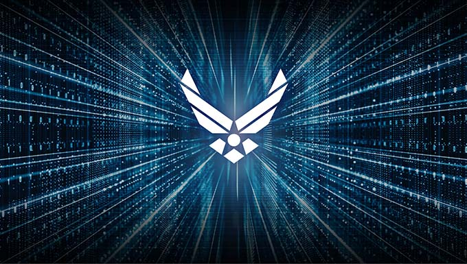 Artist concept showing the Air Force logo with a cyber-like coded background.