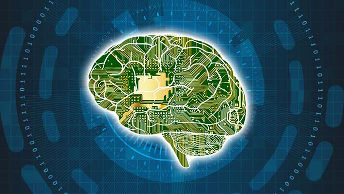 Artist creation of brain shaped microchip over a coded background.
