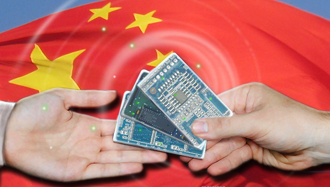 Chinese flag with hands trading microchips