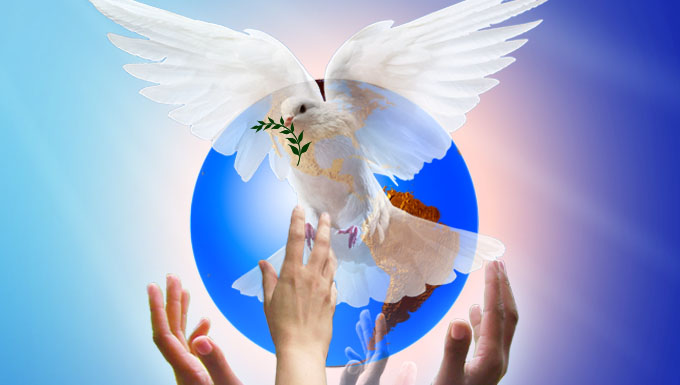 Dove hands and world image