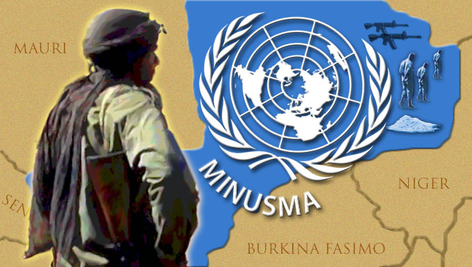 Man looking at MINUSMA symbol