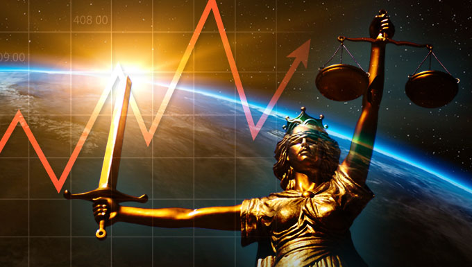 Scales of justice with stock market line
