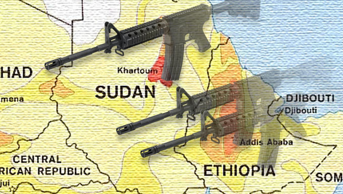 Yellow map of Sudan and Ethiopia with 3 faded semi automatic weapons overlayed on top.
