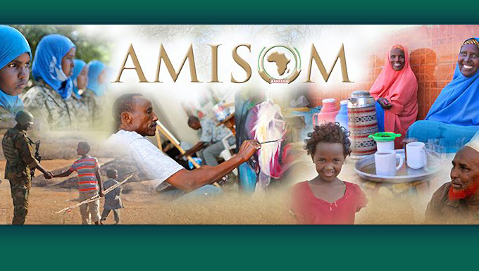 Artist's digital design using photo portaying the group's mission in Somalia from AMISOM's facebook page.