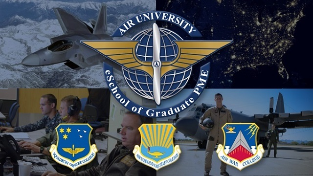 The eSchool brings the distance education programs of the Air War College, Air Command and Staff College, and Squadron Officer School together into a cohesive framework delivering the right education to the right person at the right time.