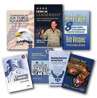 Book covers for available audiobooks. These are Commanding an Air Force Squadron, Lorenz on Leadership, Heirpower, Sharing Success-Owning Failure: Preparing to Command in the Twenty-First Century Air Force, Stopping Mass Killings in Africa, Listening Effectively, and Speaking Effectively