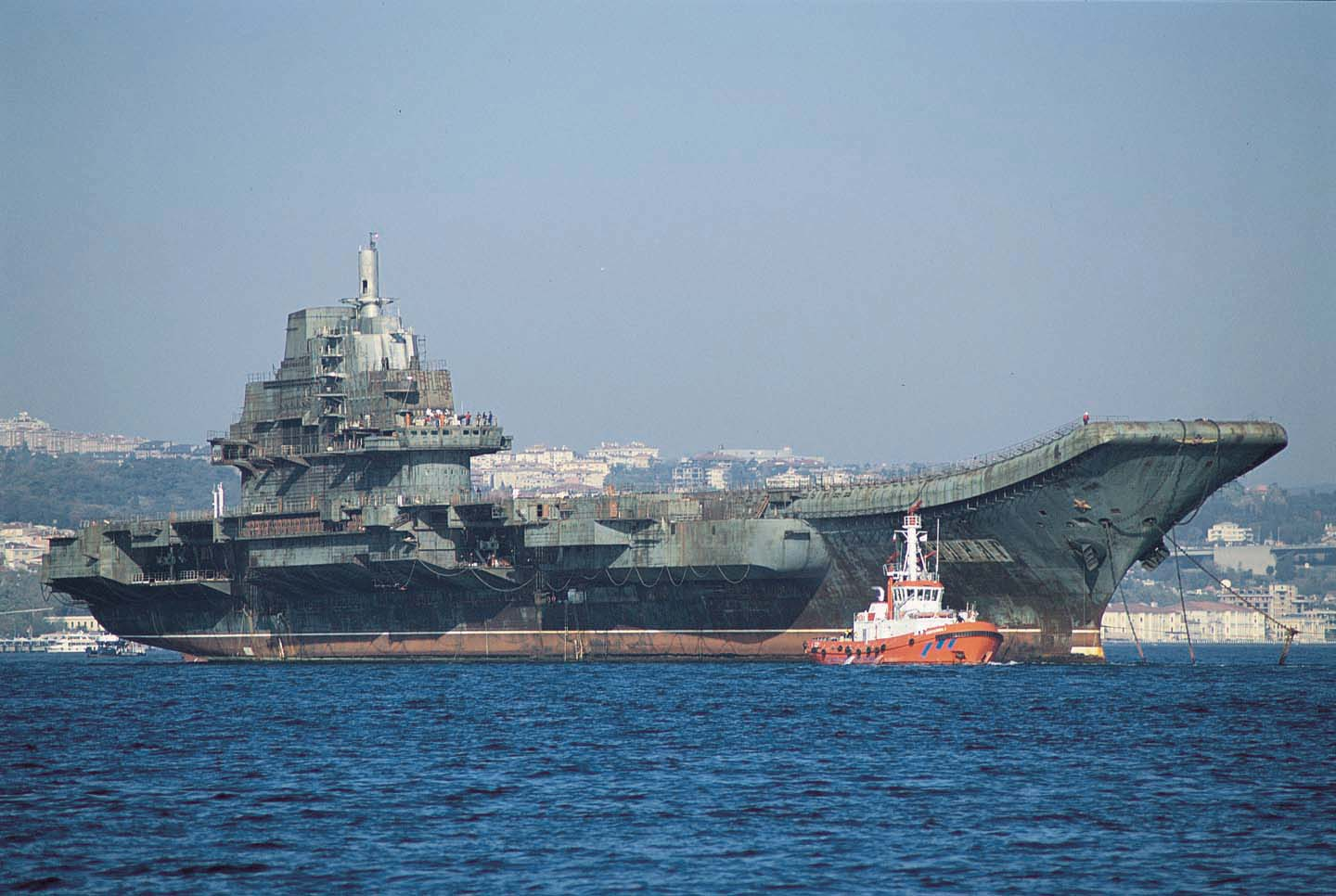 A long journey--Varyag under tow to China en route Istanbul. (Photo courtesy US Naval War College)