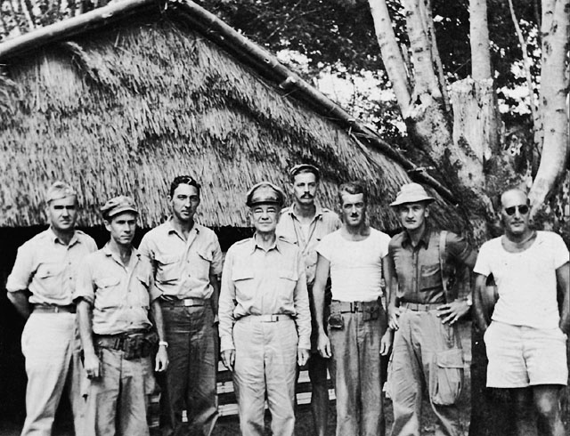 Intelligence unit-- American officers of OSS Detachment 101 with Gen Daniel Isom Sultan at an advanced ranger base in Burma, June 1945.