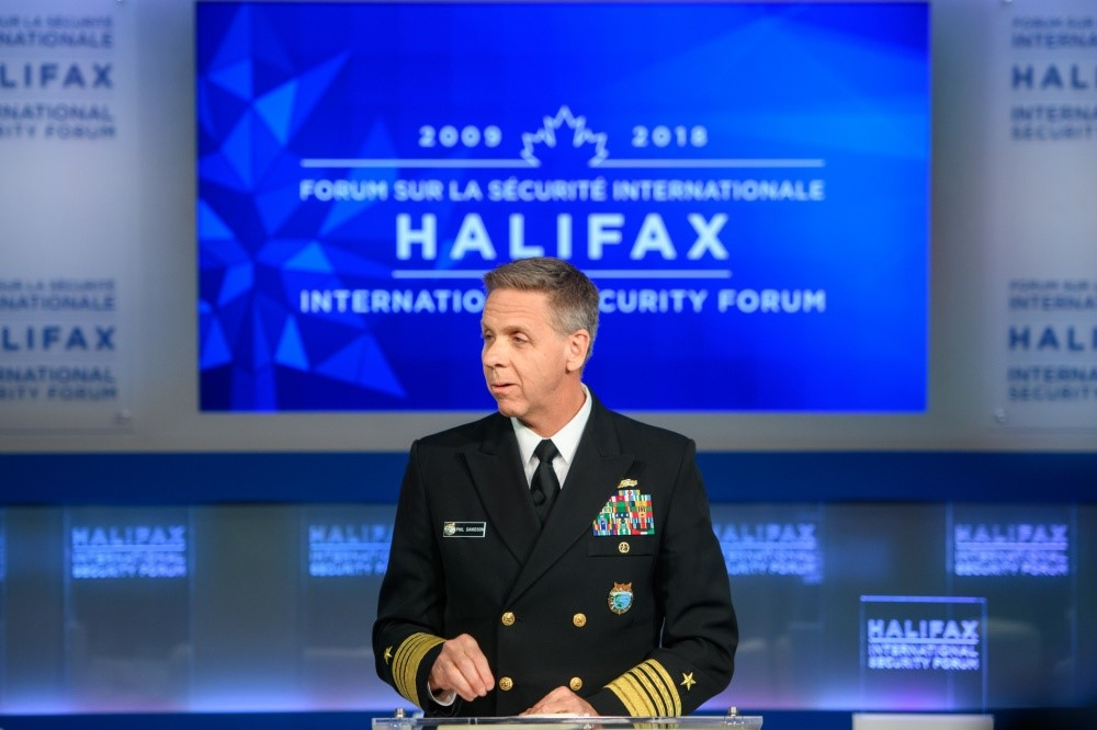 ADM Phil Davidson, commander of US Indo-Pacific Command, delivered remarks about<br />security challenges, collaboration, and partnerships in the Indo-Pacific region during the Halifax International Security Forum in Nova Scotia, Canada, 17 November 2018.(Photo courtesy of Halifax International Security Forum)