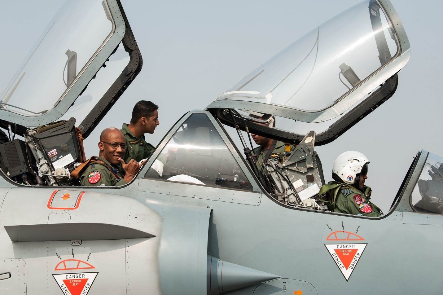 US Air Force Gen CQ Brown, Jr., Pacific Air Forces commander, prepares for an orientation flight in an IAF Mirage 2000 at Cope India 19 at Kalaikunda Air Force Station, India, 14 December 2018