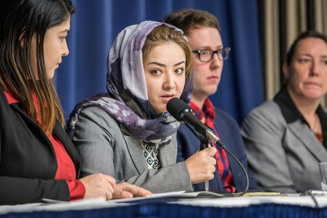 a Uyghur woman who was detained in China, testifies at the National Press Club in Washington