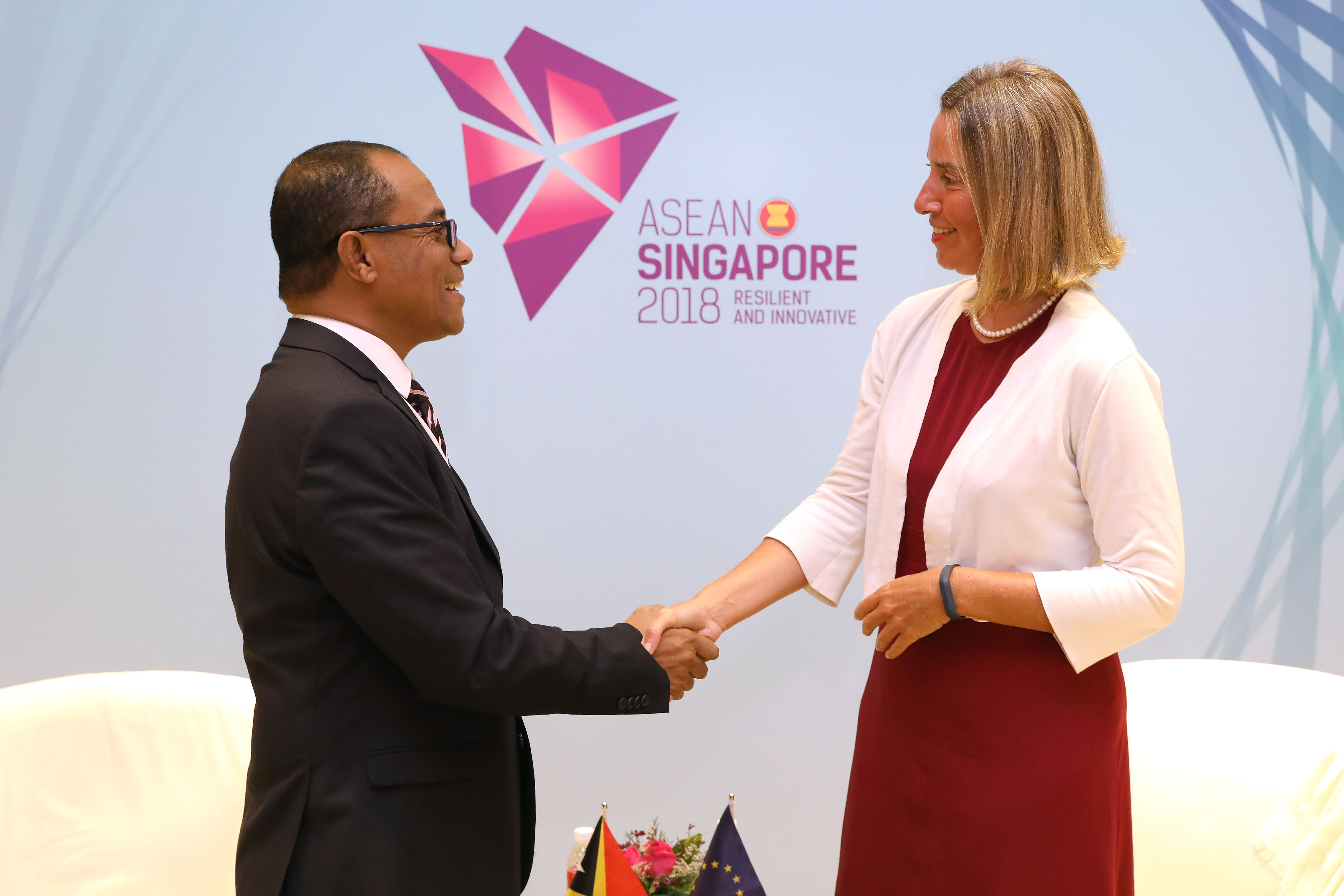 EU VPC/HR Federica Mogherini meets with Dionísio da Costa Babo Soares, Minister of Foreign Affairs of Timor Leste, while attending the 51st ASEAN Foreign Ministers' Meeting and related meetings.