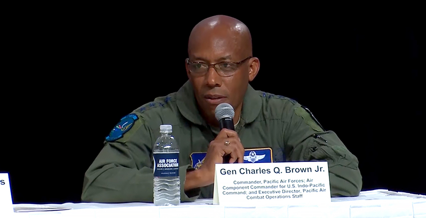 Gen Charles Q. Brown, commander, Pacific Air Forces; air component commander, US Indo-Pacific Command; and executive director, Pacific Air Combat Operations Staff, at the Air Force Association's Combat Air Forces Commanders panel for the 2019 Air Warfare Symposium (Orlando, Florida, 28 February 2019),