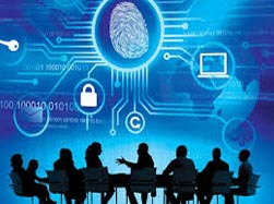 Graphic depicts individuals conferencing about cybersecurity