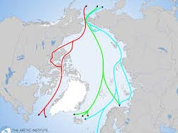 Map depicts Arctic trade routes