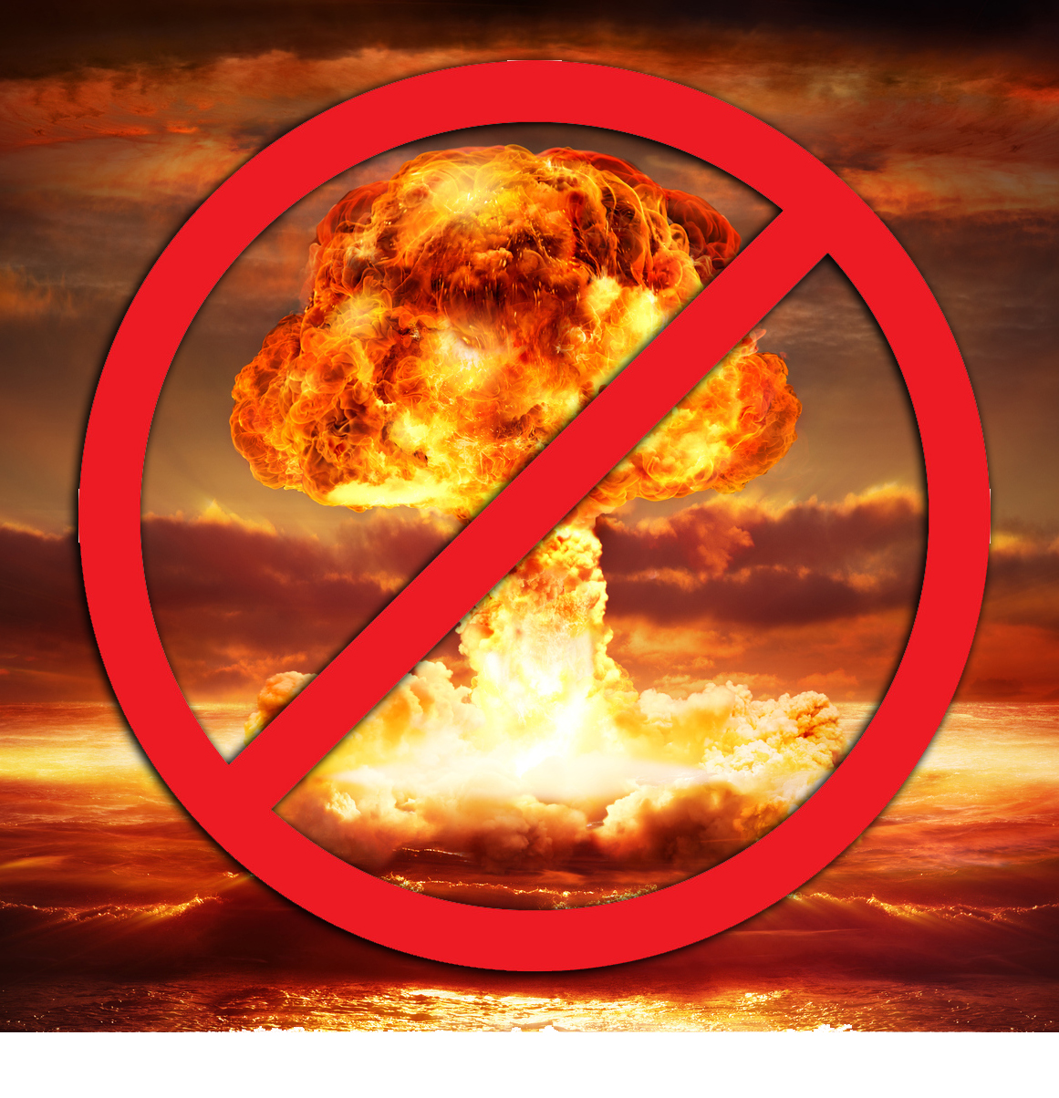 "Image of atomic blast with the ""no"" symbol superimposed"