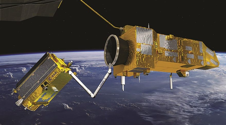 Illustration of prototype satellite captururing space debris object with magnetic arm