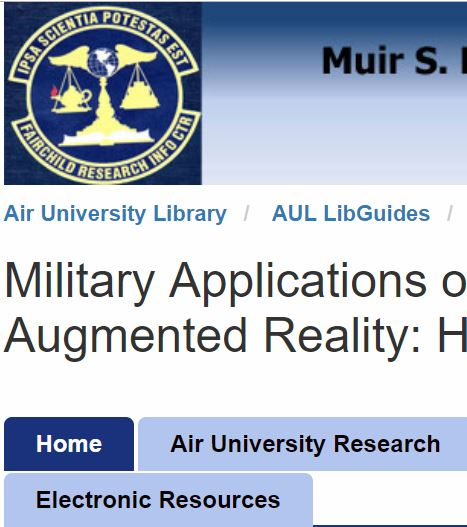 Image for Research Guide:  Military Applications of Virtual and Augmented Reality