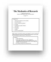 View the 18 page Mechanics of Research synopsis Tongue and Quill research elements