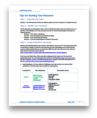 Tips for Starting Your Research
